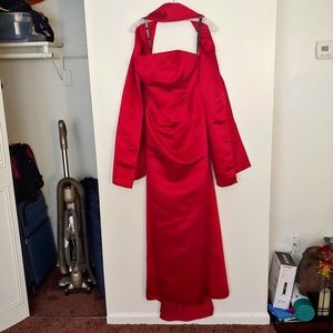 Bill Levkoff red strapless formal gown w/shawl
